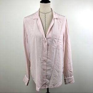 Equipment Keira Piped Silk Rose Blouse Size Medium